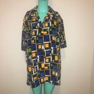 Retro 90s button up short sleeve blouse geometric